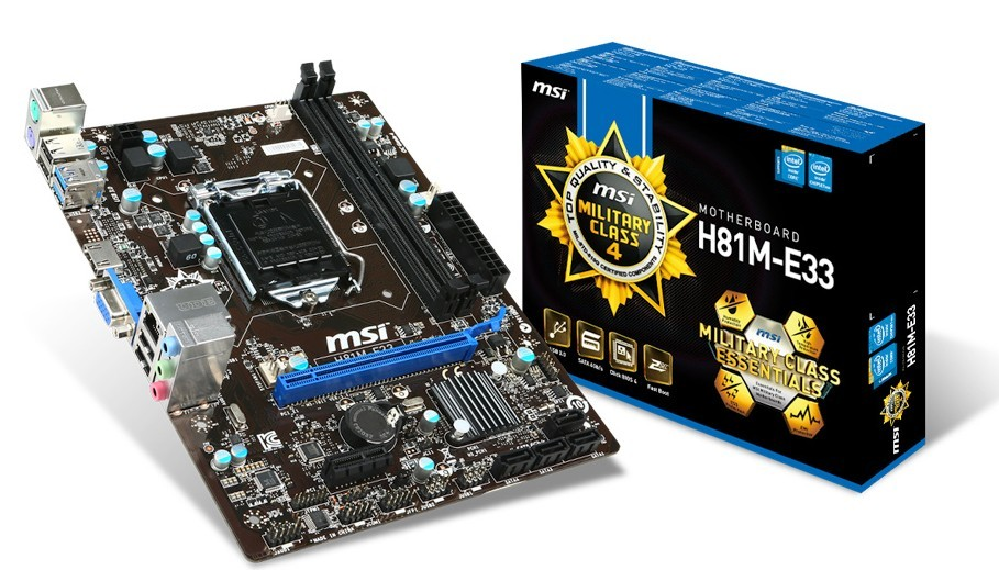 все цены на MSI H81M-E33 LGA1150 architecture HDMI / VGA genuine