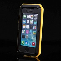 5C Waterproof Case With Tempered Glass Logo Phone Cover For Apple IPhone 5C Fashion Dual Layer