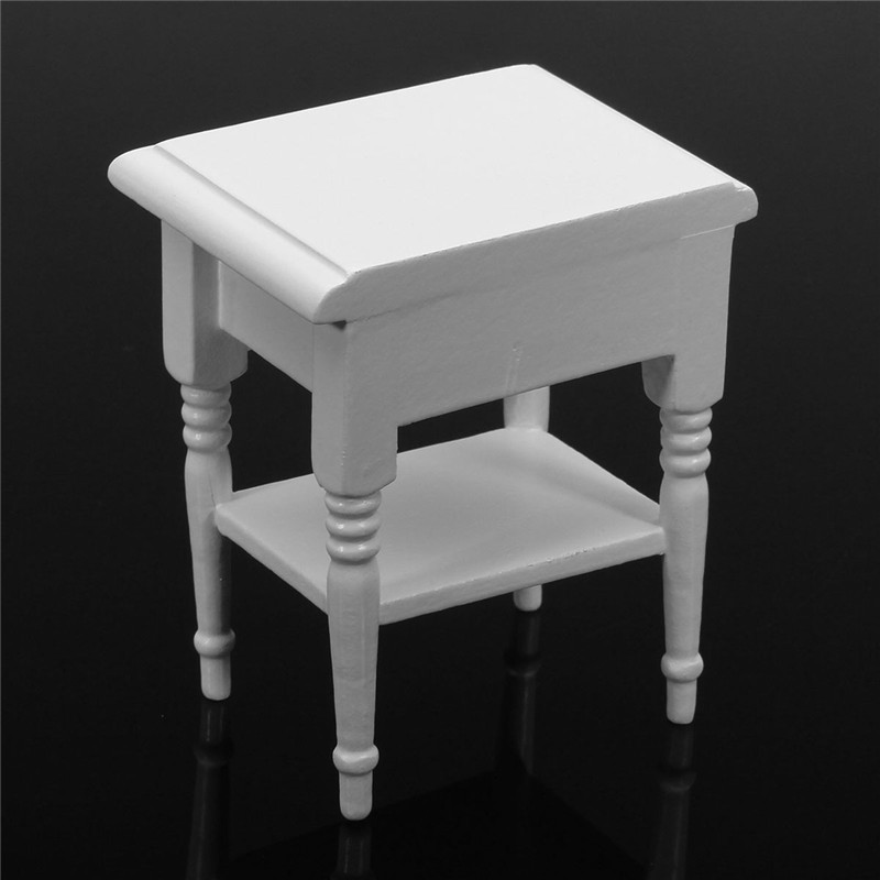 KiWarm Mini 1:12 Dollhouse Miniature Furniture Wooden White Bedside Table Nightstand Cabinet DIY Ornament Decoration