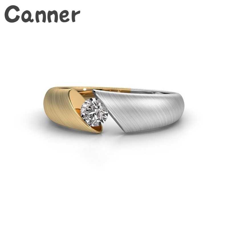 Canner สแตนเลสแต่งงานแหวน Rhinestone แหวนนิ้วมือผู้หญิงสีผสมคริสตัล Charm แหวน A35