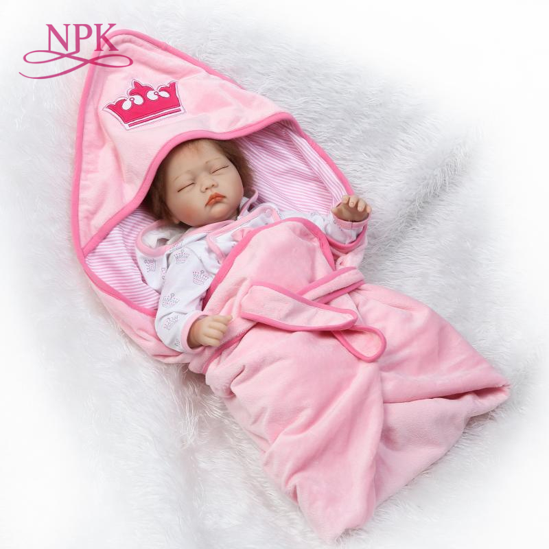 NPK 22 Baby Doll soft cloth Body Silicone Vinyl Adorable Lifelike Toddler Baby Bonecas Girl Kid Bebe Reborn Dolls adorable soft cloth body silicone reborn toddler princess girl baby alive doll toys with strap denim skirts pink headband dolls
