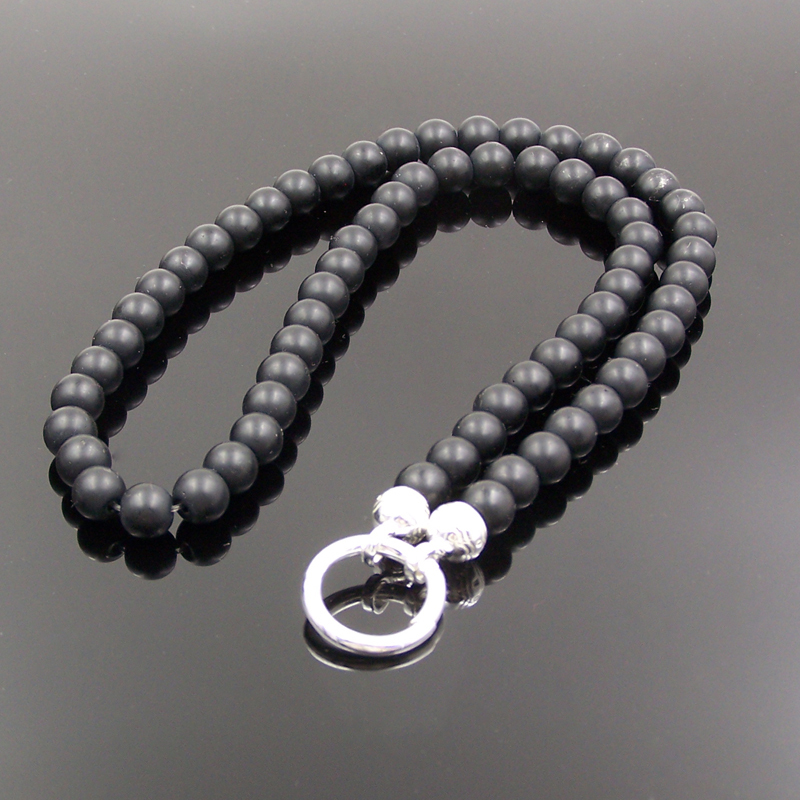 Prix pour Thomas Style Noir Mat Obsidienne Perles Collier pour Pendentif Européenne Bijoux Cool Hommes Bijoux Nouvel An Cadeau En Gros 8 MM
