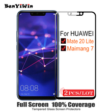 2 PCS 100% Original Cover Cover กระจกนิรภัยสำหรับ Huawei Mate 20 Lite 9 H ป้องกันกระจกสำหรับ Maimang 7 ฟิล์ม