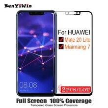 2 pièces 100% Original couverture complète verre trempé pour Huawei Mate 20 Lite protecteur décran 9H sur verre de protection pour Maimang 7 Film
