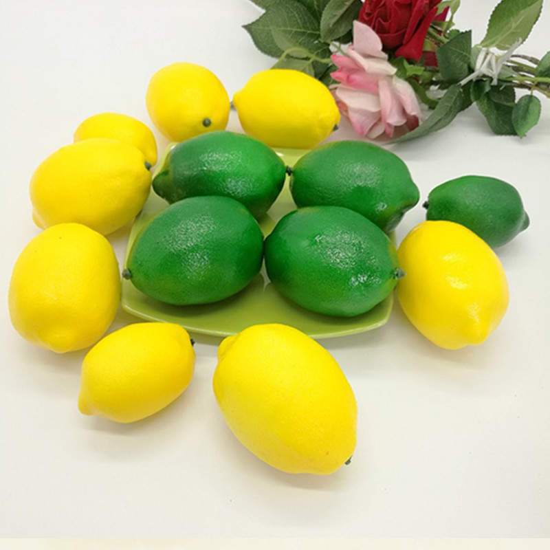 1 pc Simulation Fake Fruit Model Decoration Yellow Artificial Lemon Model Fake Lemon Photography Props Placed Decorations
