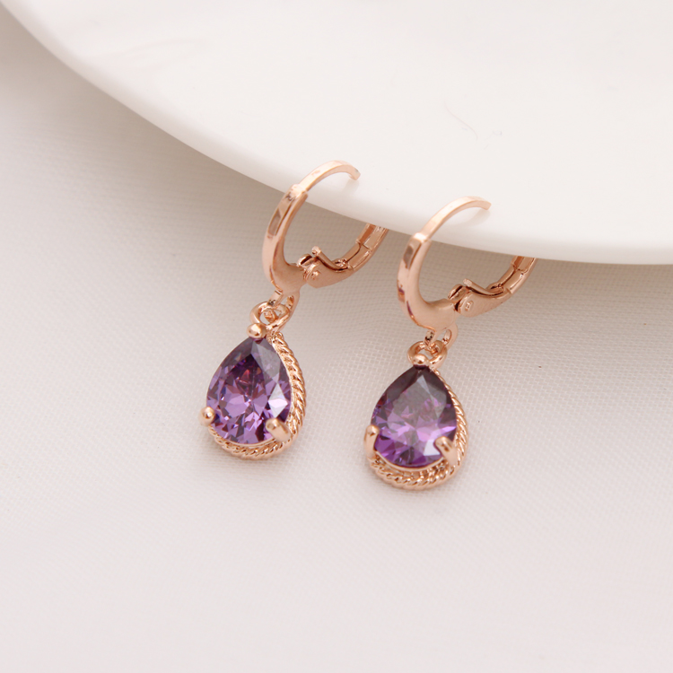 Gold Color Earrings Green Water Drop CZ Stone Pierced Dangle Earrings Women/Girls Long Drop Earrings fashion jewelry 15