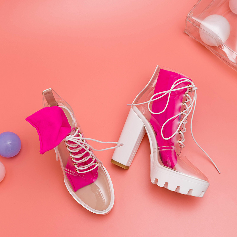 Image 3 - MORAZORA 2019 newest ankle boots for women unique pvc transparent summer boots Street style high heels platform shoes woman-in Ankle Boots from Shoes