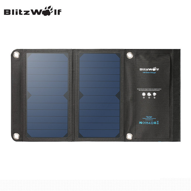 BlitzWolf 15W 2A Foldable Portable Dual USB SunPower Solar Cell Panel Charger with Power3S for iPhone 6s/6/Plus For iPad Air