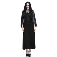 Gothic Women S Cocktail Dress With Tassel Shawl Steampunk Sleeveless Lace Prom Fomal Dress Retro Black
