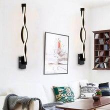 Modern Minimalist Wall Lamp 16W 96V-260V Lampada Bedroom Beside Wall Light LED Sconce Black White Lamp Aisle Lighting Decoration