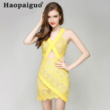 цена на Yellow Hollow Out Sexy Lace Dress Summer 2019 Backless Deep V-neck Wrap Bodycon Dress Women Mini Dress Club Wear for Ladies