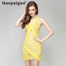 цены на Yellow Hollow Out Sexy Lace Dress Summer 2019 Backless Deep V-neck Wrap Bodycon Dress Women Mini Dress Club Wear for Ladies в интернет-магазинах