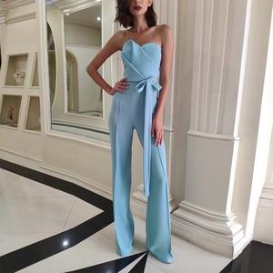 Image 2 - Женский клубный комбинезон с брюками ADYCE, голубой облегающий комбинезон с бантом без бретелей в стиле звезд, для подиума, для лета, 2020