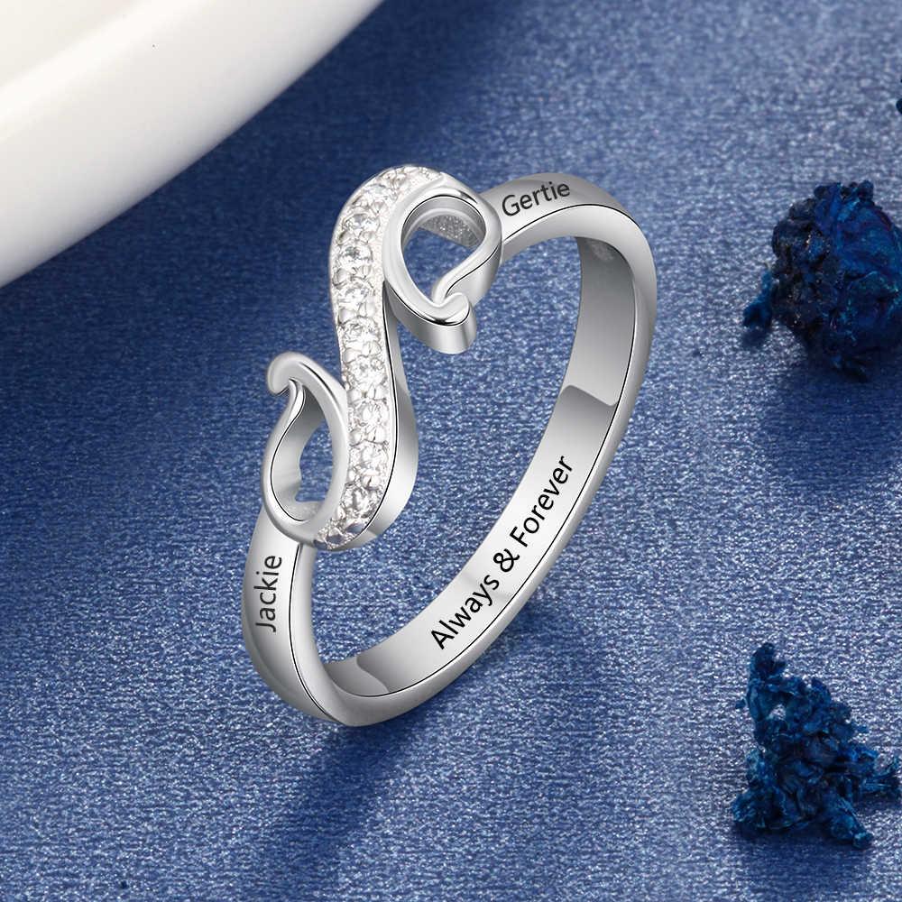 Индивидуальные 2 названия кольцо с фианитом персонализированные геометрические стиль выгравированное имя кольцо подарок для матери (JewelOra RI103855)