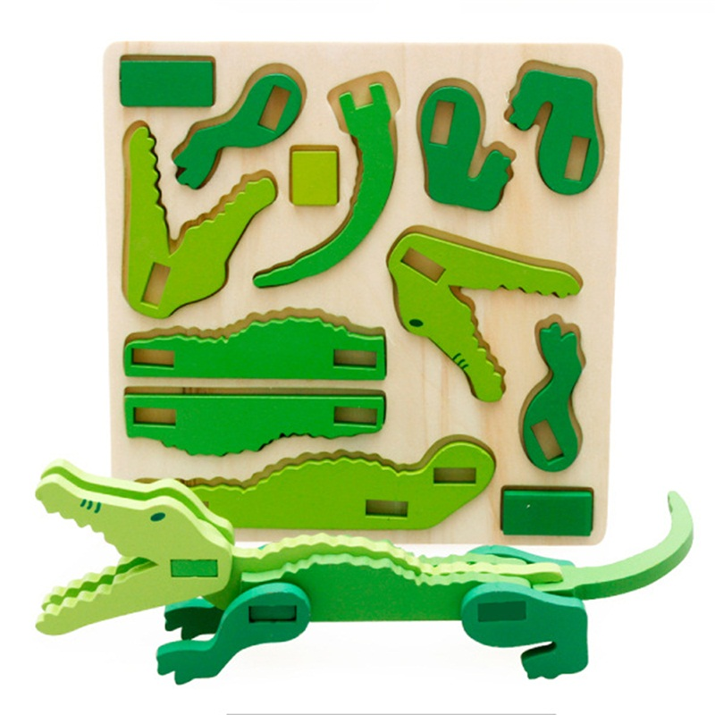 Cute Rabbit Animal Wooden 3D Puzzle Toys MWZ for Children Baby Early Learning Kids Intelligence Educational Cartoon Wood Toy