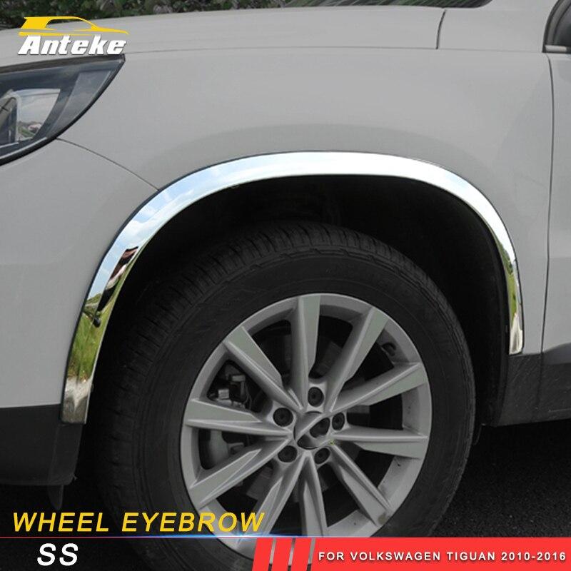 ANTEKE voiture roue sourcil cadre couverture garniture Sitcker pour Volkswagen Tiguan 2010-2016