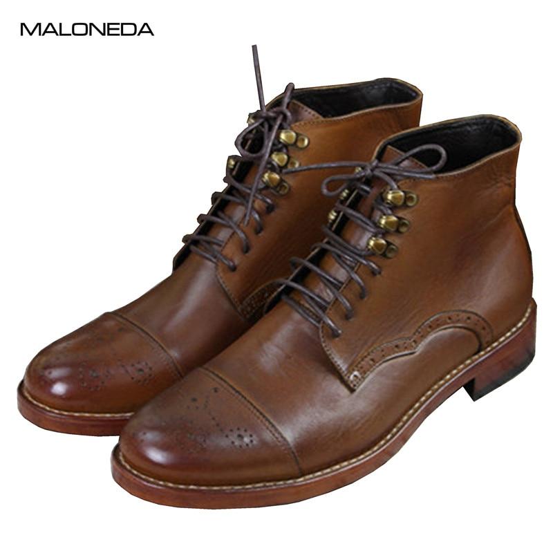 Marrón Alta otoño Zapatos Calzado Vendimia Calidad Botines Moda La Hasta Cuero Encaje Botas Maloneda Primavera Genuino Del Goodyear De Hombres HqUdx4wP1