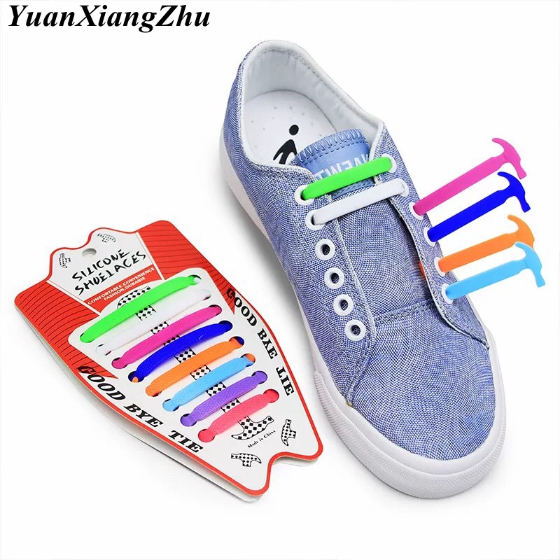 16pcs/lot Silicone Shoelaces Elastic No Tie Shoe Laces Kids Adult Unisex Shoelace Lazy Laces Sneakers Rubber Shoelaces 13 Colors