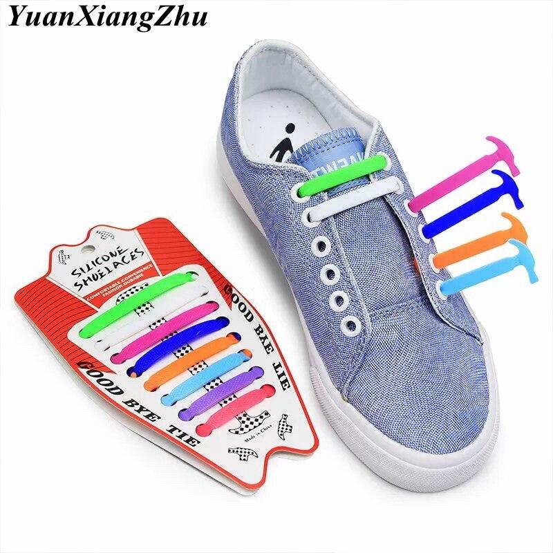 16pcs/lot Silicone Shoelaces Elastic No Tie Shoe Laces Kids Adult Unisex Shoelace Lazy Laces Sneakers Rubber Shoelaces 13 Colors