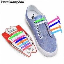 16pcs/lot Silicone Shoelaces Elastic No Tie Shoe laces Kids Adult Unisex Shoelace Lazy Laces Sneakers Rubber 13 colors