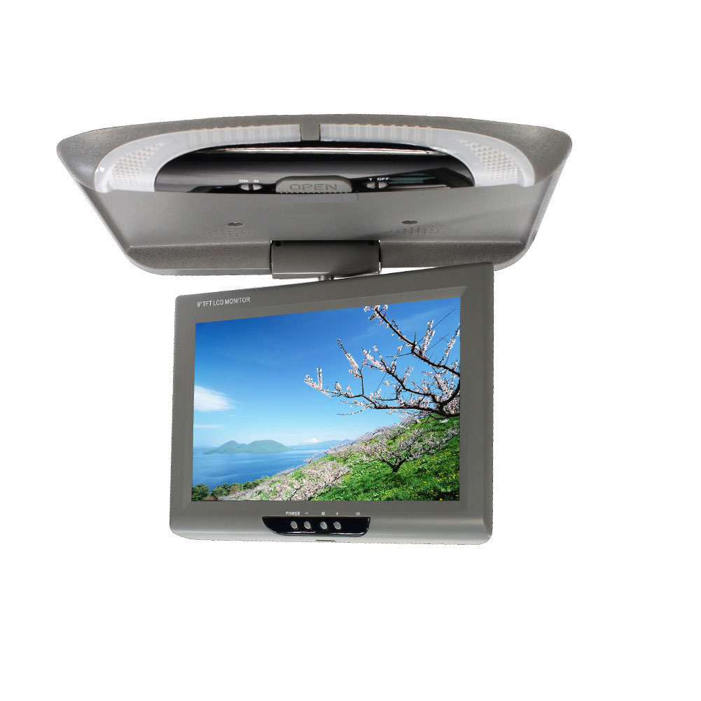 9 Inch Display Dome Lights ABS Video Roof Mount CD Player TFT LCD Color Car Monitor Multimedia Flip Down DVD Digital Screen(China)