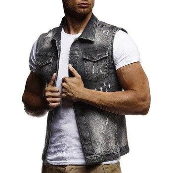 Men Sleeveless Jeans Jacket,Summer Fashion Classic Denim Vest,black Turn-down Collar Jeans Waistcoat 1