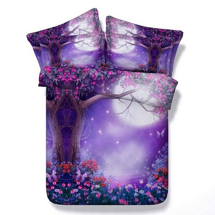 Purple bedding sets floral butterfly twin full queen super king size double  doona quilt duvet cover bed sheets linen