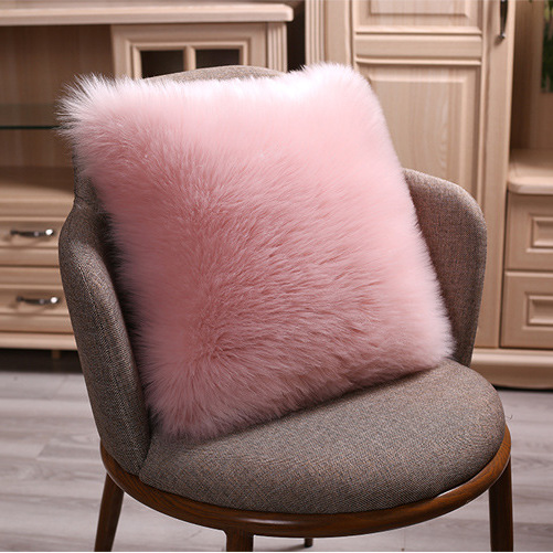 40/45/50cm Pure White/Grey Cushion Cover One Side Faux Fur Decorative Throw Pillow Case Square Plush For Home Sofa Decor Pillows