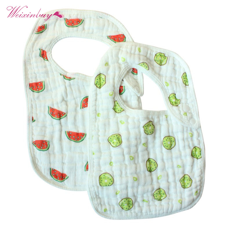 2pcs/set Fashion Baby Bibs 100% Cotton 33*23CM 8 Layers Cartoon Bandana Soft Scarf for Infant Toddler Accessorie