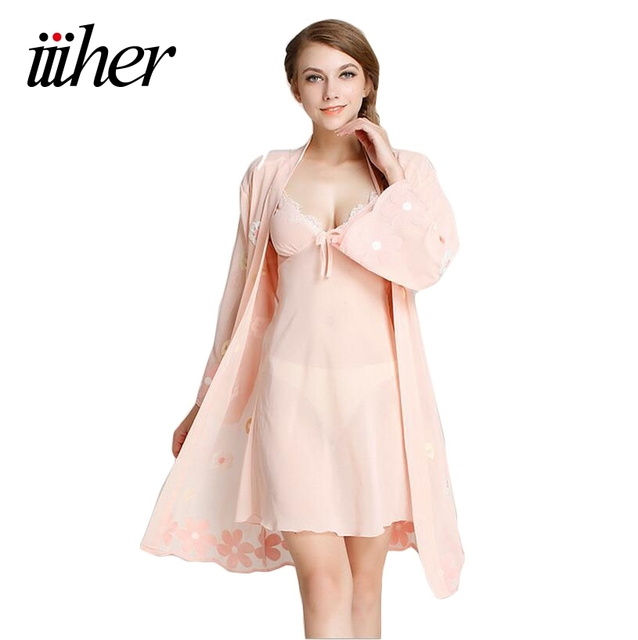 Iiiher 2016 Mulheres Conjuntos de Pijama Marca Mancha Mulheres Robe   Define  Camisola Para Mulheres Pijama c13092bbb