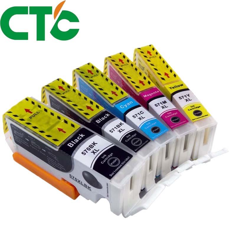 5 Pack PGI 570 571XL Ink Cartridge Compatible for Canon PIXMA MG5750 MG5751 MG5752 MG6850 MG6853 TS6050 6051 6052 5050 5051 5052