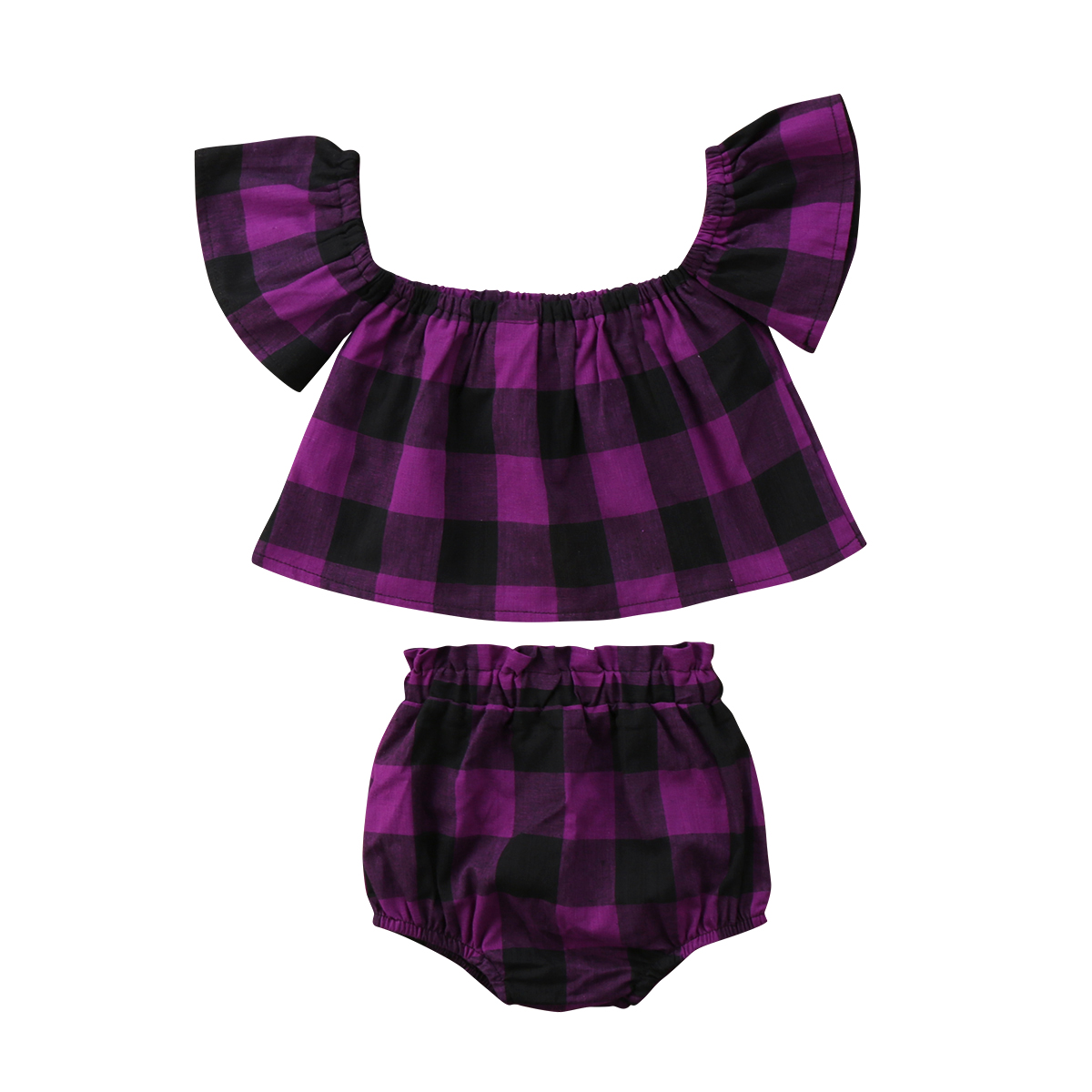 Newest Baby Girls Kids fashion clothes set purple plaids off shoulder T-shirt short Briefs pants Pudcoco Outfit summer suit 0-3Y
