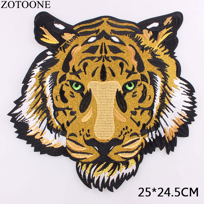 ZOTOONE Big Tiger Embroidery <font><b>Patch</b></font> for Clothing 25*24.5CM Iron on <font><b>Patch</b></font> Applique DIY Hat <font><b>Coat</b></font> Dress Accessories Cloth Sticker C image