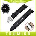 20mm venda de reloj de cuero genuino de la correa de liberación rápida para samsung Gear S2 Classic R732/R735 Mariposa Hebilla de Cinturón de Pulsera pulsera