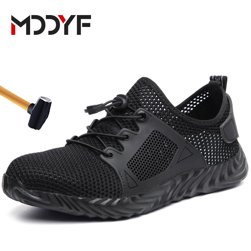 MODYF Men's Work Safety Shoes Steel Toe Lightweight Breathable Anti-smashing Non-slip Construction Sneaker