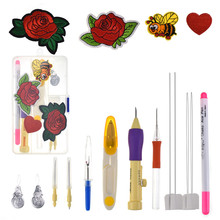 Magic DIY Embroidery Pen Punch Needle Set Stitching Tool Patterns Scissors Sewing Tools For
