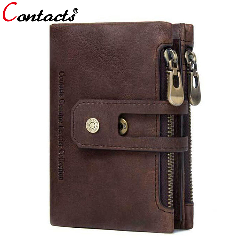 CONTACT'S Brand Genuine Leather Wallet Men Coin Purse Male Clutch Credit Card Holder Zipper Hasp Wallet Organizer Money Bag Gift