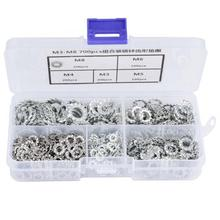700Pcs Galvanized Serrated Toothed Lock Washer Flat Set Fastening Tool M3/M4/M5/M6/M8 seal ring washers 100pcs din6798j m3 m4 m5 m6 m8 304 stainless steel washers internal toothed gasket washer serrated lock washer hw137