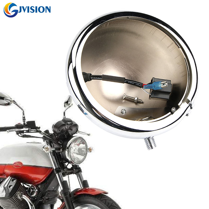 Harley Accessories 5.75 INCH Motorcycle headlight Silver Housing Bucket & Wire Harness for Harley Softail Sportster XL 1200