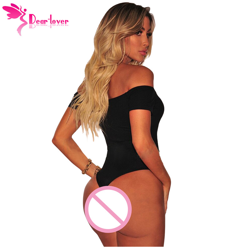 a25d555cc1 DearLover Off Shoulder Bodysuit Sexy Summer White Black Ribbed Knit Button  Short Sleeve Ladies Bodycon Romper Body Femme LC32251-in Bodysuits from  Women s ...