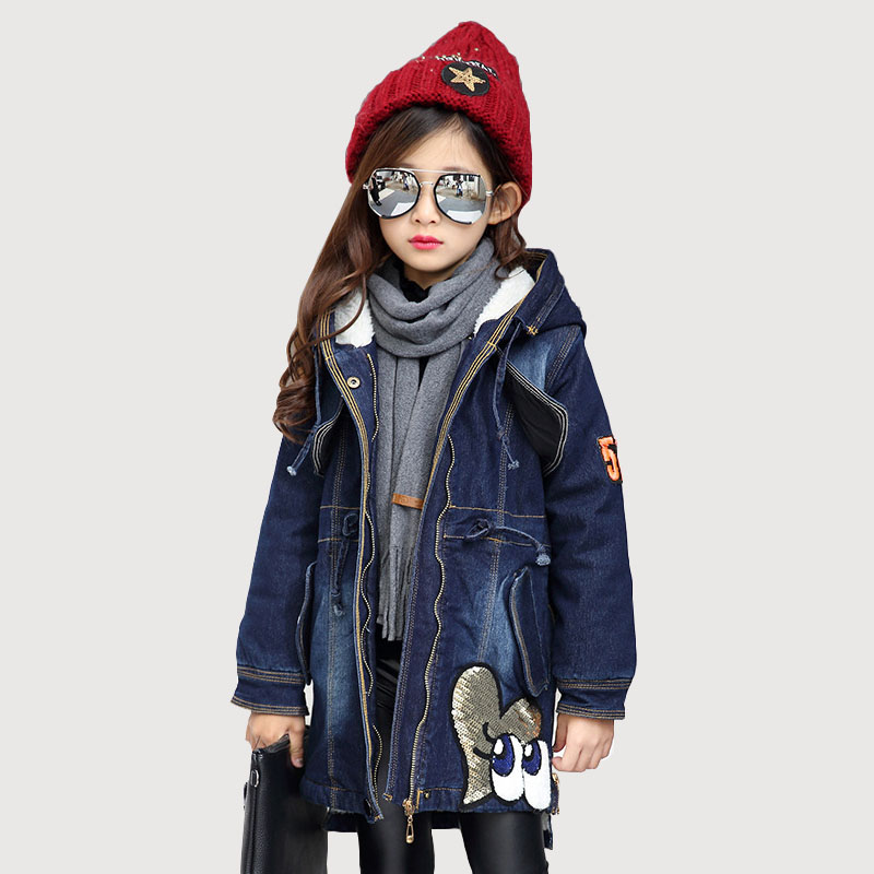 2018 Winter Kids Girls Clothes Denim Jacket Children Plus Thick Velvet Outwear Long Warm Hooded Coat for Girls 5 7 9 11 13 Years dark wash long denim coat jacket with hooded