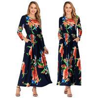 Boho Dress For Women Floral Printed Long Sleeve Maxi Abaya Cocktail Beach Dresses Summer Pockets Draped O neck Loose Plus Size