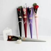 5 шт. Цветочные Упаковочные сумки, одиночные розовые сумки, упаковочная бумага для цветов на День святого Валентина, крафт-бумажный мешок с розами