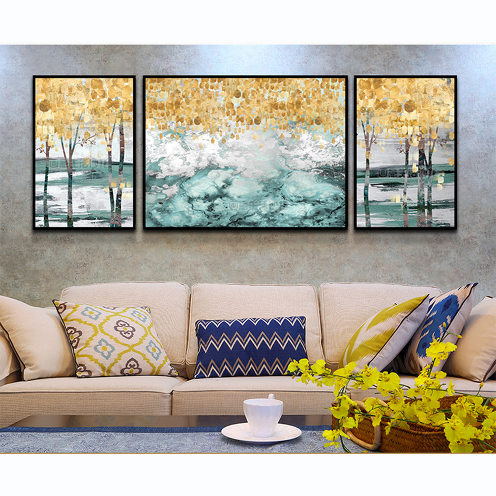 be1cfa52703 Large Abstract Painting Abstract Art Print Blue Turquoise Teal Golden  Colorful Painting Vertical Wall Art Fluid Artwork