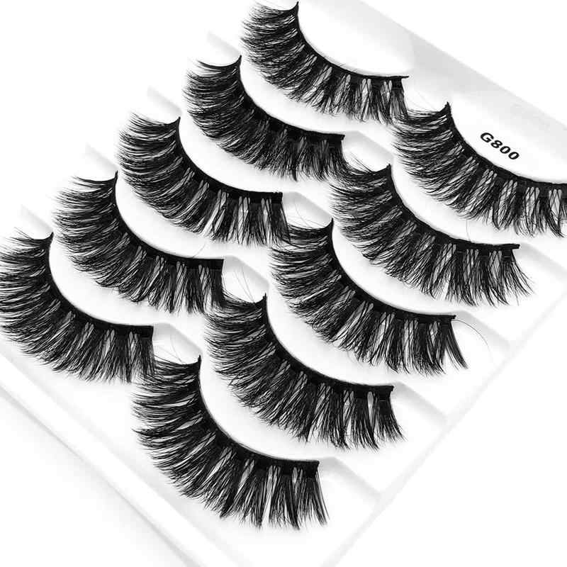 e43ecfeb94f ... 5 Pairs Real Mink 3D Volume Thick Daily False Eyelashes Strip Lashes  Natural False Eyelashes Mink ...