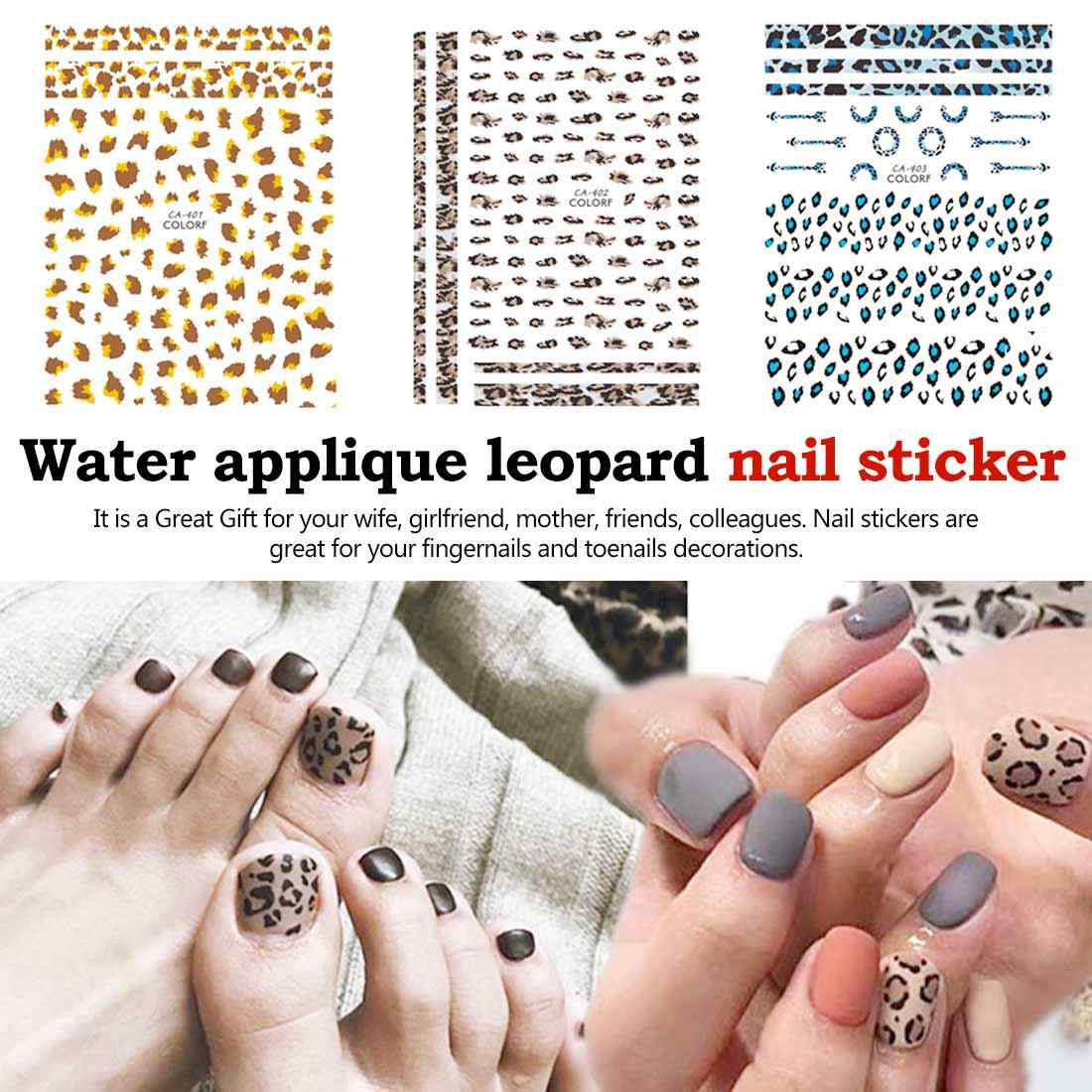 Charming Sexy Design-Decals 1 Pcs Leopard 3D Nagel Aufkleber Adhesive Aufkleber Wilden Design Nail art Transfer Folie Dekoration