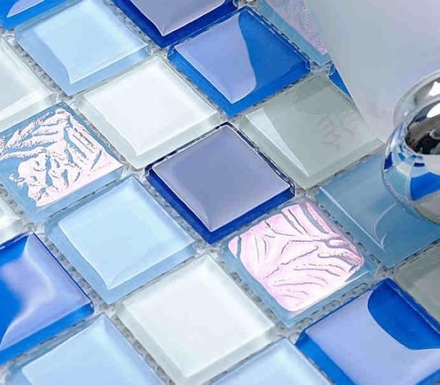 Blau Glasmosaik Fliesen Für Bad Dusche Fliesen Quadratischen Muster - Glasmosaik fliesen blau