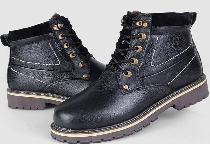Зимние мужские высокие толстые теплые Натуральная кожа зашнуровать ботинки 2015 новая мода Мартин безопасность работы сапоги плюс Размер 39-50 SXQ0921