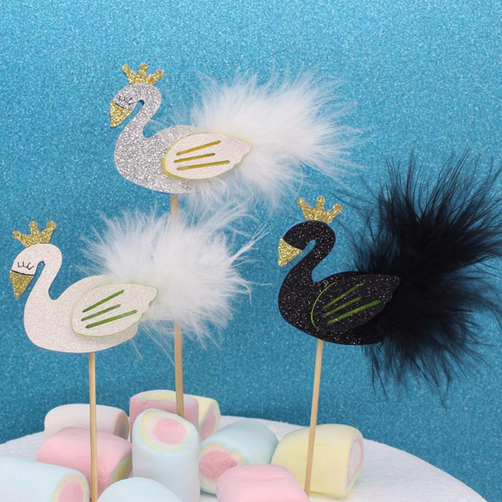 Swan With Feather Cupcake Topper Diy Dessert Decoration
