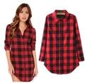 2016 new women Cotton fashion patchwork camisa xadrez blusa feminina full sleeve length roupas femininas plus size blusas